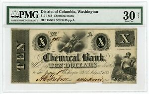 1853 $10 THE CHEMICAL BANK   WASHINGTON D.C. NOTE PMG VF 30  ORMSBY PRINTED