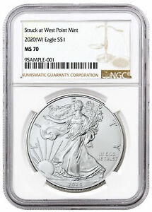 2020  W  1 OZ SILVER AMERICAN EAGLE STRUCK AT WEST POINT MINT NGC MS70