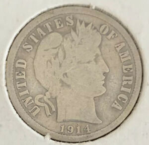 1914 BARBER DIME PHILADELPHIA MINT