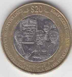 MEXICO COIN $20 PESOS |100TH ANNIV COSTITUTION UNCIRCULATED GOOD COND
