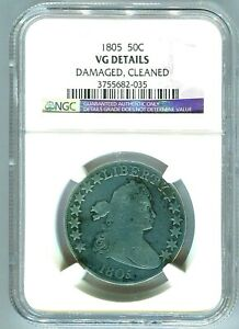 1805 DRAPED BUST HALF DOLLAR NGC GRADED VG DETAILS LOW MINTAGE