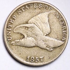 1857 FLYING EAGLE SMALL CENT CHOICE FINE  E144 KNT