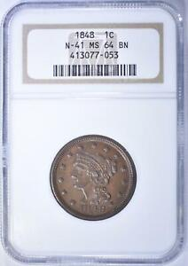 1848 LARGE CENT NGC MS 64 BN