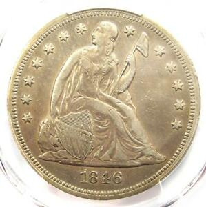 1846 SEATED LIBERTY SILVER DOLLAR $1   PCGS XF DETAILS    EARLY DATE COIN