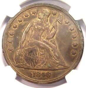 1846 SEATED LIBERTY SILVER DOLLAR $1   NGC XF DETAILS    EARLY DATE COIN