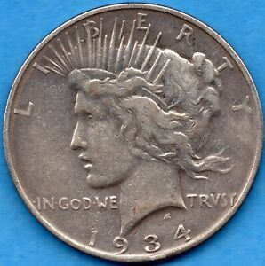 UNITED STATES 1934 D PEACE $1 ONE DOLLAR SILVER COIN   FINE