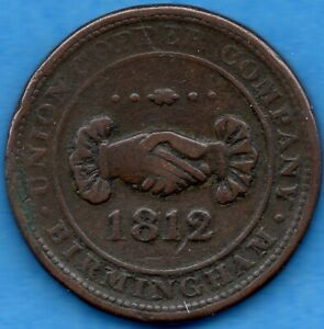 GREAT BRITAIN BIRMINGHAM 1812 1 ONE PENNY TOKEN   CIRCULATED