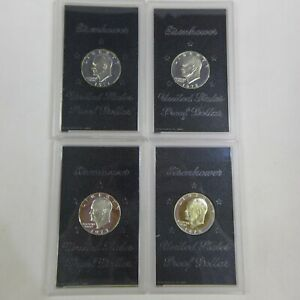 4 SILVER PROOF EISENHOWER DOLLARS 1971 S 1972 S 1973 S & 1974 S BROWN IKES