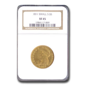 1811 CAPPED BUST $5 GOLD HALF EAGLE XF 45 NGC  SMALL 5    SKU208797