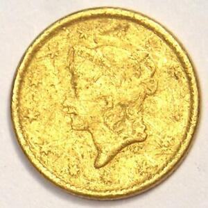 1851 LIBERTY DOLLAR GOLD COIN  G$1    XF DETAILS  JEWELRY MOUNT DAMAGE