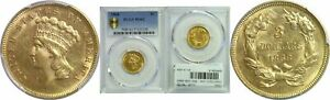 1868 $3 GOLD COIN PCGS MS 62