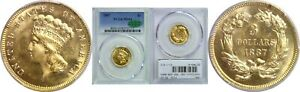 1887 $3 GOLD COIN PCGS MS 64 CAC