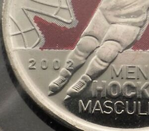 CANADA 2X25 CENTS MENS HOCKEY COLOURIZED 2009 ENGRAVED 2/ RAISED 2 ERROR