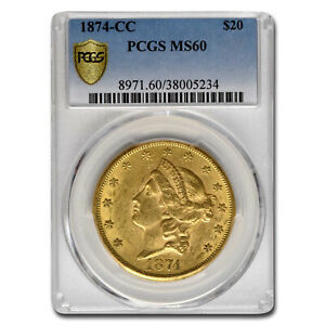 Click now to see the BUY IT NOW Price! 1874 CC $20 LIBERTY GOLD DOUBLE EAGLE MS 60 PCGS   SKU150601