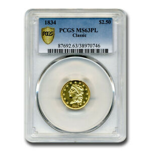 Click now to see the BUY IT NOW Price! 1834 $2.50 GOLD CLASSIC HEAD QUARTER EAGLE MS 63 PCGS  PL    SKU209925
