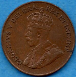 CANADA 1924 1 CENT ONE LARGE CENT COIN   VF/EF