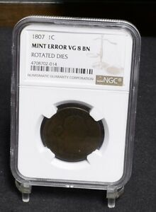 1807 LARGE CENT   MINT ERROR ROTATED DIES   NGC VG8BN  29234