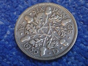 ENGLAND: 1929  SILVER 6 PENCE  ABOUT FINE    KING GEORGE V