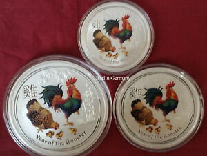 3  SET 2017 LUNAR 2 SILBER MNZE HAHN ROOSTER COLOR SILVER COIN FARBE