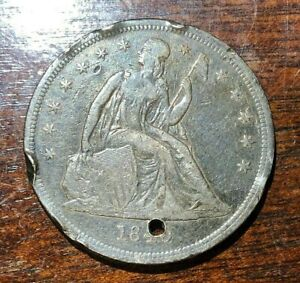 1840 LIBERTY SEATED SILVER DOLLAR $1 LOW MINTAGE HOLED FIRST YEAR OF ISSUE
