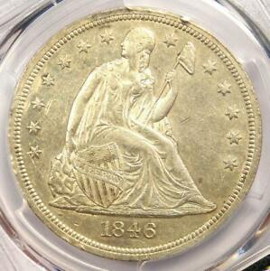 1846 O SEATED LIBERTY SILVER DOLLAR $1 COIN WITH MINT ERROR   PCGS AU DETAILS