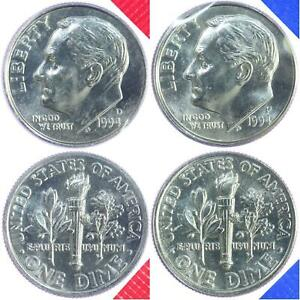 1994 P+D Roosevelt Dime Set ~ Uncirculated Coins in Mint Cello