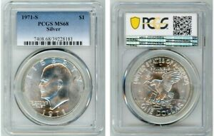 Click now to see the BUY IT NOW Price! 1971 S SILVER EISENHOWER DOLLAR $1 PCGS MS68 39228181