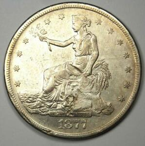 1877 S TRADE SILVER DOLLAR T$1   AU DETAILS WITH CHOP MARKS    COIN