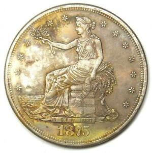 1875 S TRADE SILVER DOLLAR T$1   AU DETAILS WITH CHOP MARKS    COIN