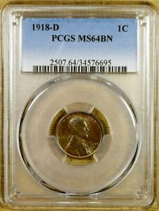 1918 D PCGS MS64 BN LINCOLN CENT