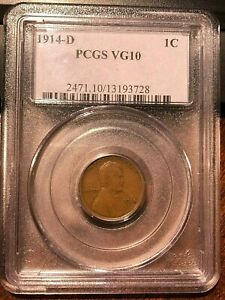 1914 D LINCOLN CENT WHEAT PENNY KEY DATE PCGS VG10