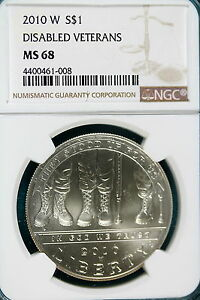2010 W NGC MS68 DISABLED VETERANS COMMEMORATIVE DOLLAR   B5169