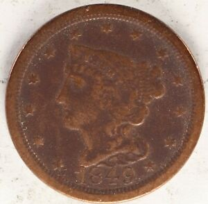 1849 BRAIDED HAIR HALF CENT 1C