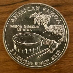 2009 P AMERICAN SAMOA QUARTER US TERRITORY STATE BU UNCIRCULATED FROM BANK ROLL