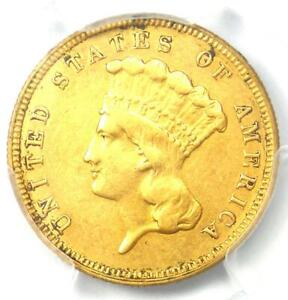 1882 THREE DOLLAR INDIAN GOLD COIN $3   CERTIFIED PCGS XF DETAILS    DATE