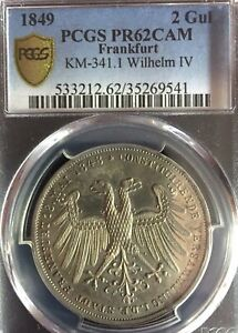 Click now to see the BUY IT NOW Price! GERMAN STATES FRANKFURT 1849 TWO GULDEN COIN THALER PCGS PR62CAM PREUSSEN PROOF