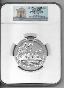 Click now to see the BUY IT NOW Price! 2011 P VICKSBURG  25 CENTS  ATB 5 OZ. SILVER NGC SP70 EARLY RELEASES
