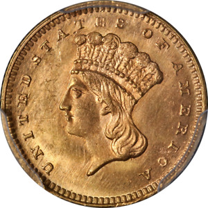 1867 TYPE 3 INDIAN PRINCESS GOLD $1 PCGS MS65  CAC STICKER SUPERB EYE APPEAL