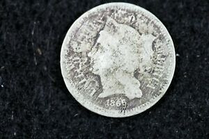 ESTATE FIND 1866   THREE CENT NICKEL   J00762