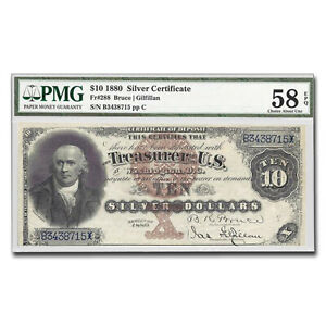 Click now to see the BUY IT NOW Price! 1880 $10 SILVER CERTIFICATE ROBERT MORRIS AU 58 EPQ PMG   SKU213109