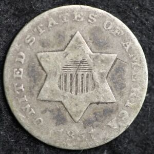 1851 THREE CENT SILVER PIECE CHOICE  E174 JCT