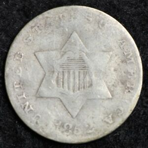 1852 THREE CENT SILVER PIECE CHOICE G  E177 RCC