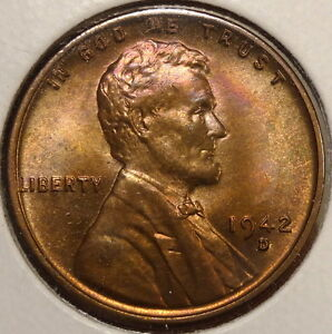 1942 D LINCOLN CENT GEM UNCIRCULATED NICE COLOR    0102 17