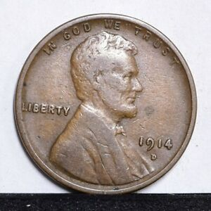 1914 D LINCOLN WHEAT CENT   F VF DETAILS  30332
