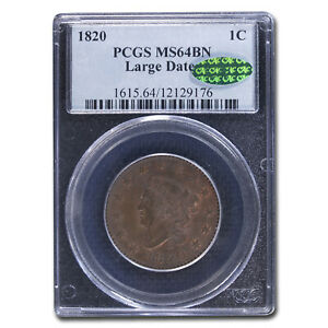 1820 LARGE CENT MS 64 PCGS CAC  BROWN LARGE DATE    SKU213425