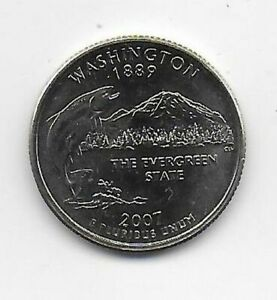 2007 D WASHINGTON 50 STATES QUARTER  SCAN IS THE COIN YOU WILL RECEIVE