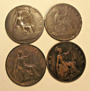 LOT OF 4 GREAT BRITAIN LARGE ONE PENNY COINS MIXED DATES 1896 1895 1885 1917