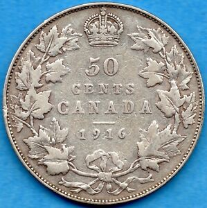 CANADA 1916 50 CENTS FIFTY CENTS SILVER COIN   VG/F