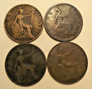 LOT OF 4 GREAT BRITAIN LARGE ONE PENNY COINS MIXED DATES 1899 1921 1898 1874