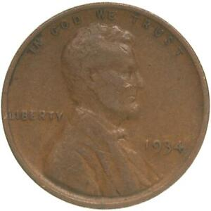 1934 LINCOLN WHEAT CENT FINE PENNY FN